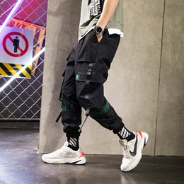 Male Full Belt Australia - Drop shipping Designer Belt Cargo Pants Men 2019 Mens Streetwear Joggers Pants Male Hip Hop Pockets Sweatpants US Size