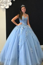 $enCountryForm.capitalKeyWord NZ - Elegant Baby Blue Cheap Ball Gown Quinceanera Prom dresses Sweetheart Neck Applique Lace Crystal Beaded Sparkly Sequin Sweet 16 Formal Dress