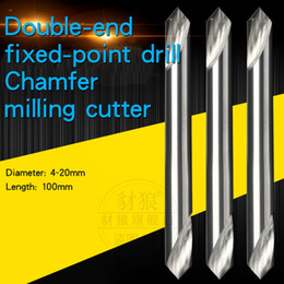 drill cutters NZ - Tungsten steel Positioning Centering drill Lengthen Double-end fixed-point drill 90 degrees Chamfer milling cutter 3 4 5 6 8 10 * 75 100