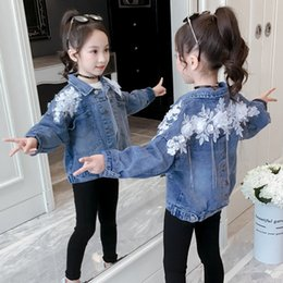 denim for children NZ - Flower Girls Jackets Denim Coat Children Spring Jacket for Girls Denim Clothing Kids Jean Coat Fashion Outwear TZ484