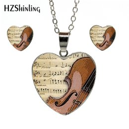 $enCountryForm.capitalKeyWord NZ - New Vintage Violin Heart Necklace Musical Instruments Pendant Jewelry Hand Craft Heart Jewelry Set Gifts for Women