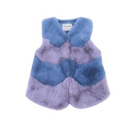 $enCountryForm.capitalKeyWord NZ - Baby Girls Fur Outerwear Vest 2019 New Winter Fashion Thicken Warm V-neck Striped Colorful Vest Children Costume Clothing Vw030