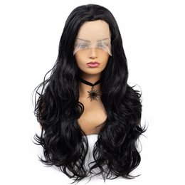 Style For Long Black Hair Australia - 26inch Long Lace Front Wig Natural Wavy Synthetic Wigs for Women Black Color Free Part Hair Style