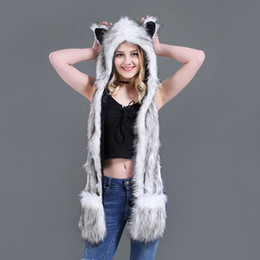 Faux Fur Scarf Hood Australia - Faux Fur Hood Animal Hat For Men Women Ear Flaps Hand Pockets Animal Hood Hat Wolf Plush Warm Cap with Scarf Gloves H3