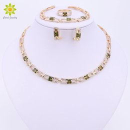 Wedding Gold Crystals Australia - Wedding Party Necklace Jewelry Sets For Women Fashion Green Crystal&rhinestone Gold Color Pendant Accessories C19041501