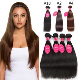 light hair 2019 - Grade 8A Mink Brazilian Straight Human Hair 3 Bundles Weave natural Light brown #4 color 8-24 inch Indian Virgin Hair Ex
