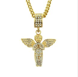Diamond Jewelry Wholesale 18k Australia - New European and American fashion trend 18K gold alloy diamond personality Angel Wing Necklace hip-hop boutique Pendant Jewelry