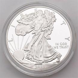 Großhandel Kostenloser Versand 2019 Freiheitsstatue Gedenkmünze 1 Unze Feinsilber Ein-Dollar-Münzen Collectibles US Amerika Münzen Boxring