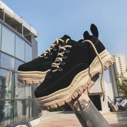 korean style shoes winter NZ - 2018 autumn and winter New style Martin boots men's Korean-style versatile low top Rubber shoes Sneakers Stylish casual thick bo