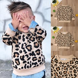 Wholesale leopard design shirts online – design Hot selling latest design Kids Boys Girls long sleeve Leopard Shirt Tops Blouse hoodie Y