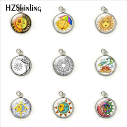 Gift Craft Christmas Ornament Australia - Beauty Sun Moon Star Planet Dome Glass Cabochon Hand Craft Stainless Steel Pendant Charms Fashion Jewelry Ornaments