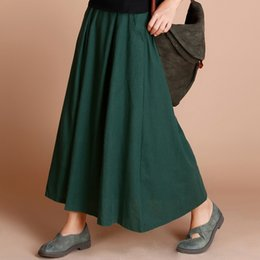 $enCountryForm.capitalKeyWord Australia - 2017 Women Retro Ethnic Elegant Linen Maxi Skirts Female Solid Minimalist Long Swing Pleated Skirt Large Size Ladies Petticoat Y19060301