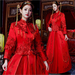 chinese style evening gowns NZ - chinese style costume cheongsam Dress maternity evening China Show clothing slim style for wedding Unique Red gown bride wedding dress