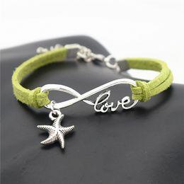 $enCountryForm.capitalKeyWord Australia - 2019 Fashion Handmade Green Leather Suede Jewelry Women Men Punk Infinity Love Sea Star Starfish Pendant Charm Bracelets & Bangles Cool Gift