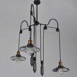 Diy Lamps Industrial UK - Loft Hanglamp Retro Metal Vintage Pendant Light Industrial Adjustable Pulley DIY Pendant Lamps Indoor Home Lighting Luminares