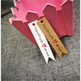 $enCountryForm.capitalKeyWord Australia - 1000pcs 7x1.5cm kraft paper hand made tag with love for DIY Gift box tag candy cupcake handmade favors name brand tag