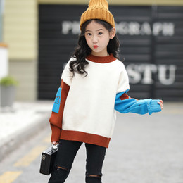 $enCountryForm.capitalKeyWord Canada - Girls New Autumn Winter Knitted Sweater Kids Simple Contrast Color Long Sleeve Bottoming Shirt Children Korean Clothes For3-14Yr