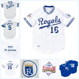 BaseBall signs online shopping - Kansas City Bo Jackson All Star Game Jersey George Brett Game Used Signed Royals Home Jersey Stitched Mens Womens Youth