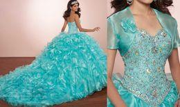 $enCountryForm.capitalKeyWord Australia - Masquerade Ball Gowns Luxury Crystals Princess Puffy Quinceanera Dresses Turquoise Ruffles Vestidos De 16 Dresses With Bolero Jacket