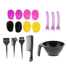 16Pcs Pro Hair Perm Dyeing Brushes Shampoo Comb Bowl Ear Covers Set