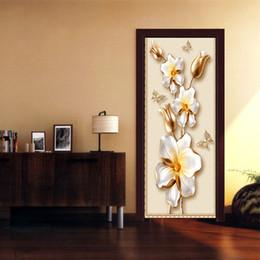 Cartoon Designs Wall Photos Australia - European Style Stereo Relief Flowers Photo Wall Mural Door Sticker Living Room Bedroom PVC Self-Adhesive Waterproof Art Decal Wallpaper