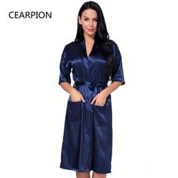 CEARPION Plus Size S-3XL Satin Robe Gown Women s Kimono Bathrobe Sexy Home  Clothes Casual Sleepwear Intimate Lingerie Negligee 1dc9dc09a8e5