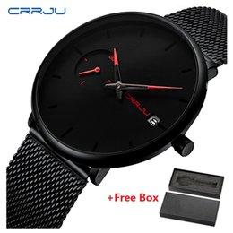Marca CRRJU Esporte Relógio À Prova D 'Água Ultra Fino Dial Relógio Do Esporte Homens de Luxo de Quartzo Relógios De Pulso Casual Relógio Relogio masculino venda por atacado