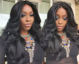 Beautiful Black Wave Hair Australia - Beautiful African American long loose wave wigs brazilian hair Simulation Human Hair long loose Wave Wig middle part