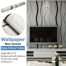 long wall stickers Australia - 53cmx10m Modern Wall Stickers Bedroom living Mural Room Minimalist Minimalist Curved Stripe Long-Fiber Non-Woven Wallpaper