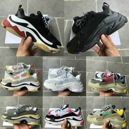 black white men shoes cheap Australia - New Paris Triple-S White Black men mens shoes Black pink cream yellow red cheap womens fashion casual shoes sneakers YB3266