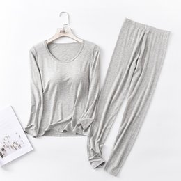 round neck full sleeves t shirts NZ - Sanderala Autumn Winter Modal Pajamas Sets Women Padded Top Long Sleeve O-neck T-Shirt All Match Tee Long Johns Bra-T Homewear Y200425