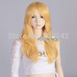 kanekalon lace wigs NZ - Popular Yellow Golden Long Wavy Style Women Girl Anime Cosplay Party Hair Wig queen Kanekalon hair lace front wigs Free deliver