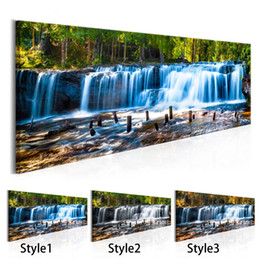 $enCountryForm.capitalKeyWord NZ - Forest Waterfall Canvas Painting Tree Scenery Painting Nature Pictures Wall Art Home Decor For Living Room Unframed