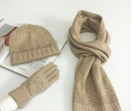 ef456c2ee16 Pink hats gloves online shopping - European and American new fashion knit  wool three piece set