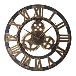 $enCountryForm.capitalKeyWord Australia - Nordic creative vintage wall clock Cafe bar Wooden wall clock Decorative gear Living room silent