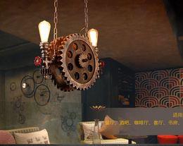 $enCountryForm.capitalKeyWord Australia - Gear Pendant Light Vintage Iron Pipe Pendant Lamps Bar Loft Industrial Hanging Lamp Wood Gear Light Fixture For Restaurant MYY