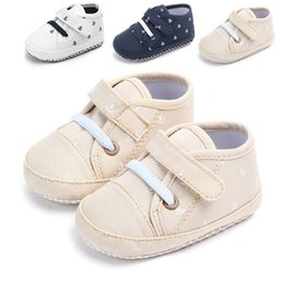 Baby Canvas Shoe Wholesale Australia - New Arrived Spring Fashion Baby Canvas Infant Boys shoes first walkers Baby moccasins Anti-slip crib Sneakers Casual shoes