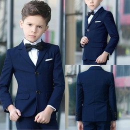 Boys Blue pinstripe suit online shopping - Handsome Navy Blue Boys Tuxedos Slim Fits Children Business Suit Kid Birthday Prom Party Sets Jacket Pants Bow Tie Handkerchief D70