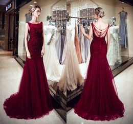 white wine grapes UK - Fashion Elegant Dresses Round Neck Open Back Beading Mermaid Wine Red Tulle Long Party Formal Evening Dresses Women Prom Gowns