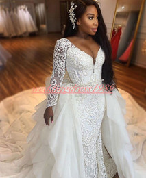 detachable bridal straps Australia - Beautiful Nigerian Wedding Dresses Detachable Skirt Mermaid African Bride Dress Country Tiered Lace Country Vestido de novia Bridal Gown