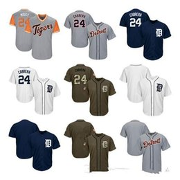 navy blue baseball jerseys UK - Men Women Youth Tigers Jerseys 24 Cabrera Blank Jersey Baseball Jersey White Gray Grey Navy Blue Salute to Service Players Weekend All-star