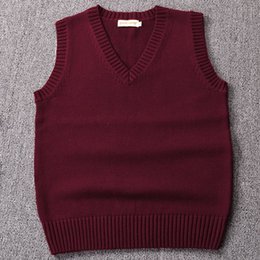 red sequin vest girls UK - New ,Wine red   Green   Coffee Color Sweater vest solid color JK cute cosplay pullover Girl school vest