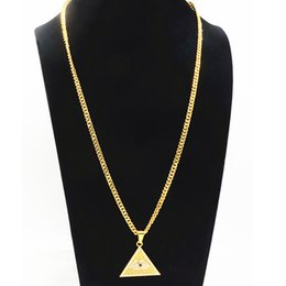 Pyramid Necklaces Australia - Creative Rhinestone Pyramid Pendant Necklaces Men Hip-hop Geometric Gold Plated Alloy Long Necklaces Fashion Jewelry Accessories Wholesale
