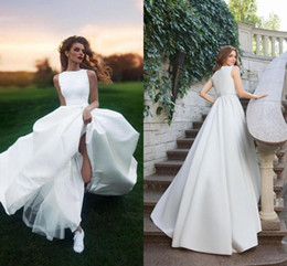 Discount outdoor wedding dress back - Elegant White Satin Country Wedding Dresses 2019 Simple Pretty A Line Sleeveless Outdoor Graden Bridal Gowns Long Beach