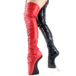 lace red thigh high boots Australia - Women Boots Hoof Heelless Sexy Fetish Thigh Over-the-Knee Boots Sexy 18cm 7'' High Heel Extreme Unisex Lace Up Patent leather Ballet Boots