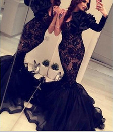 ArAbic indiA evening dress online shopping - Arabic India Formal Mermaid Evening Gowns With One Long Sleeves Black Lace Organza Crystals Backless prom Dress