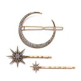 $enCountryForm.capitalKeyWord Australia - 3 pcs  Set ! Fashion Geometric Star Moon Hairpins Rhinestone Hair Clips Hair Accessories Women Barrettes Claw Jewelry Tools For Girls Ladies