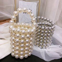 Beaded crystal Bags online shopping - Brand Handmade Pearl Bags Women Crystal Bucket bag Totes Top Handle Beaded Handbags Bride Bag Purses Evening Party Clutches