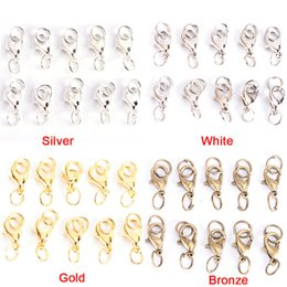 Lobster Claw Necklace Australia - 20Pcs Boho Style Lobster Claw Clasps Jump Rings Split Ring Making Hook Beads Crimp End Spring Necklace Snap Chains Connector Set