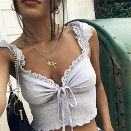 lace splice t shirt Canada - Summer New Sling Stitching T-shirts Women Sexy V-neck Solid Color Simple Splicing Vest Crop Tops Casual Sleeveless Pleated Top Y19071601